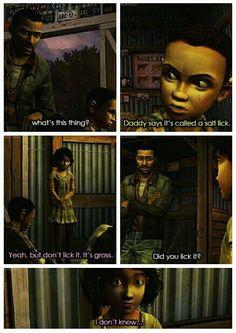 Lee Everett and Clementine - salt lick   funny The Walking Dead (Telltale Game) twdg