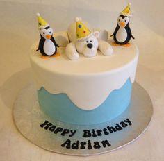 Birthday cake   polar bear   penguins   snow   custom toppers   fondant   kid's cake