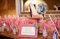 """Stepping into 40 High heel themed party. Mini wine bottles as favors. """"Age makes no difference unless it wine"""""""