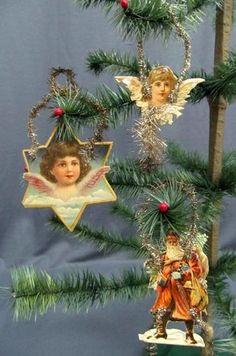 Antique C1900 Tinsel & Paper Victorian Christmas Ornament x3 Angels Santa #2 | eBay