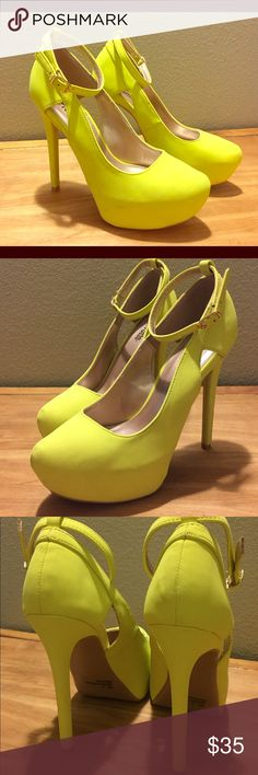 Yellow High Heels w/ Ankle Straps Description: Charlotte Russe, size 8, color bright yellow, platform high heels with ankle straps! These are fun and flirty, perfect for summer! Charlotte Russe Shoes Heels