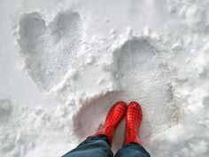 """For a snowy Valentine's Day, hearts in the snow would be a fun thing to do.the red boots are pretty darn appropriate! You could mix red food coloring with water in a spray bottle and """"color"""" the hearts! I Love Heart, My Heart, Heart Sign, Heart In Nature, Winter Love, Winter Colors, Winter Snow, Winter Beauty, All You Need Is Love"""