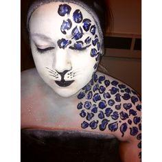 Snow leopard body paint.