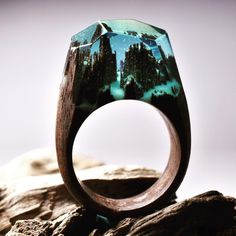 Unique Magical Wooden Ring Secret Undersea Gold Flake in Resin Wood Rings Customized Bijoux Handmade Jewelry for Women and Men