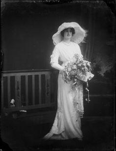 Mrs Daisy Gibbons, wife of Hopeful Barnes Gibbons, in her wedding dress