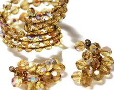 Etsy - amber crystal earrings and bracelet set