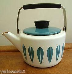 Vintage retro 50s/60s Modernist blue enamel Cathrineholm Lotus teapot A/F
