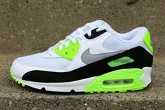 White and neon green nike air max