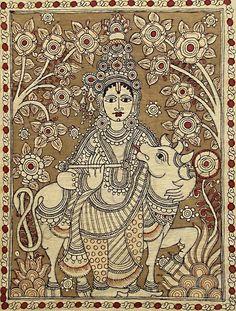 krishna with cow kalamkari - Google Search Modern Indian Art, Ancient Indian Art, Indian Folk Art, Kalamkari Painting, Madhubani Painting, Kalamkari Fabric, Black Canvas Paintings, Indian Art Paintings, Marble Art