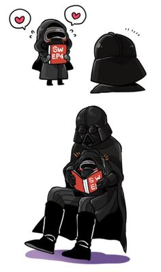 """Little Kylo Ren and Grandpa Vader << I can't get over tiny baby Kylo, he's so cute with the blushies like """"Will you read me 'A New Hope' Grandfather?"""""""