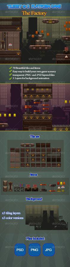 2D Tileset Platform Game 2 - Scenes Illustrations
