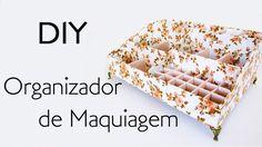 DIY: Como Fazer ORGANIZADOR MAQUIAGEM com Papelão e Tecido com porta batom - Tutorial cartonagem usando reciclagem (makeup organizer) Make Makeup, Makeup Storage, Makeup Organization, Diy Videos, Diy Fashion, Floral Tie, Origami, Upcycle, Craft Projects