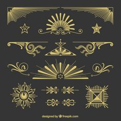 Hand drawn golden ornaments in retro style Free Vector