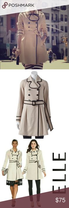 Elle Trench Coat NWT Beautiful trench coat, cotton polyester blend with faux leather trim. I bought this but it never really fit me right. I wish it did because it's so pretty but hopefully someone else can enjoy it elle Jackets & Coats Trench Coats