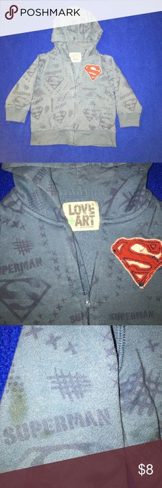 Superman Hoodie Cute Superman hoodie. Has one small brown stain on the back of the sleeve. Light and comfy. Brand is Love and Art. Jackets & Coats