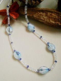 "21"" PALE BLUE MULTI-COLOURED BEADED CRYSTAL NECKLACE £10.00 http://folksy.com/items/4935732-21-PALE-BLUE-MULTI-COLOURED-BEADED-CRYSTAL-NECKLACE"