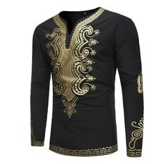 Tidebuy African Dashiki Print Mens Long Sleeve T-Shirt African Fashion Designers, African Men Fashion, Africa Fashion, Mens Fashion, Fashion Tips, Fashion 2018, Fashion Dresses, African Shirts, African Wear
