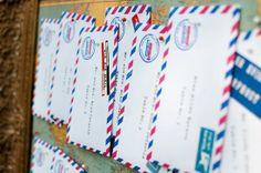 striped envelope placecards 550x365 Inspiration: Striped Wedding Details