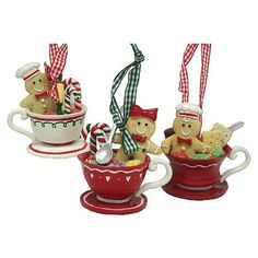 12 Gingerbread Kisses Cookie Boy & Girl Candies Coffee Cup Christmas Ornaments