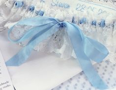 Florence personalised garter with blue silk ribbon wedding garter