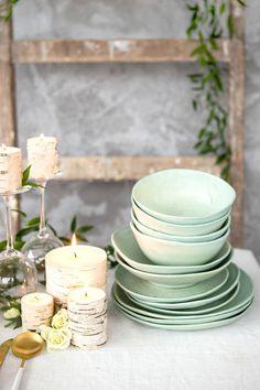 Green ceramic bowl Pottery dinner bowl Serving bowl Ceramic