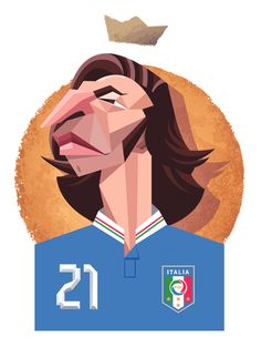 Andrea Pirlo one of the artists that have played for the both sides in the Derby della Madonnina (Milan derby) Andrea Pirlo, Soccer Art, Football Art, World Football, Soccer Poster, Retro Football, Football Stuff, Creative Illustration, Graphic Design Illustration