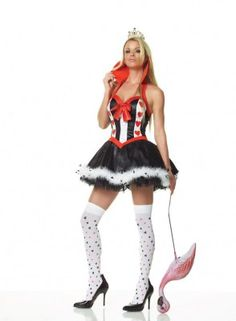 Queen Of Hearts Costume - Med/Large from adult clothing store Passion Shop, in the Lingerie, Sexy Costumes section, by by Leg Avenue. 3 piece queen of hearts costume includes crown, collared petticoat dress with marabou trim and stockings.