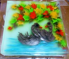 the Swans  jelly art, with injection technique