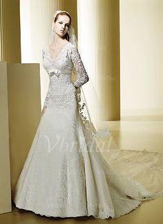 Robes de mariée - $233.99 - Forme Princesse Col V Traîne mi-longue Satiné Dentelle Robe de mariée avec Emperler (00205001016)