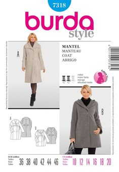 Maternity coat pattern Edwards What kind of fabric, where do I get it and how much you think it'll cost? Maternity Coat, Cute Maternity Outfits, Maternity Fashion, Maternity Style, Maternity Sewing, Burda Sewing Patterns, Coat Patterns, Style Patterns, Fashion Mode