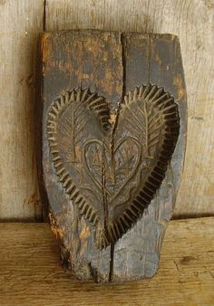 RARE Early Antique PA Folk Art 18thC Carved Wooden SPRINGERLE Cake Mold Heart ...~♥~