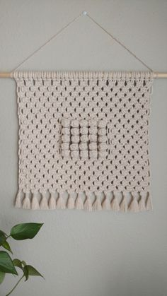 """Description Handcrafted macramé wall hanging Materials natural cotton string wooden dowel Dimensions width - dowel 14 """" body length Color natural / off white Cotton String, Macrame Projects, Macrame Patterns, Boho Decor, Diy And Crafts, Texture, Wall Art, How To Make, Handmade"""