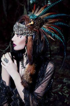 A photo of one of my headpieces for a collaborative editorial entitled 'Pagan Love Song' - Shunyata headdress. Tribal Fusion, Celtic Goddess, Headgear, Belly Dance, Bohemian Style, Tribal Style, Tribal Theme, Bohemian Fashion, Gypsy Style