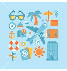 Icons in flat style - travel and vacation vector by venimo on VectorStock®