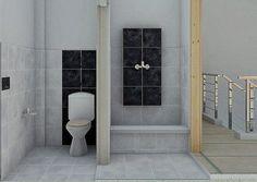 Posisi kran air ditegaskan dengan olahan keramik hitam. Toilet, Bathtub, Bathroom, Interior, Architects, Standing Bath, Washroom, Indoor, Interieur