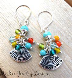 Sterling silver and glass fan earrings. Bohemian jewelry.