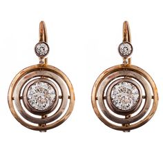 Victorian Gold, Silver and Diamond Earrings