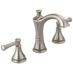 Moen Wetherly Spot Resist Brushed Nickel 2 Handle Widespread Watersense Labeled Bathroom