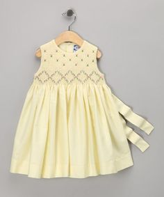 Take a look at this Yellow & Purple Smocked Dress - Infant by Carriage Boutique on #zulily today!