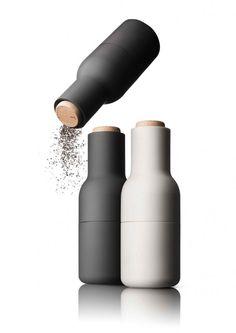 Buy now Pepper & Salt Mill Bottle Grinder Set small carbon & ash designed by Menu at Menu-Shop! Menu's new Bottle Grinder is build for. Salt And Pepper Grinders, Salt Pepper Shakers, Design Shop, Menu Design, Design3000, Spice Grinder, Dishwasher Soap, Le Moulin, Bottle Design