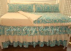 Teal Turquiose Damask Bumperless Crib Bedding Baby by LinenBaby, $295.00