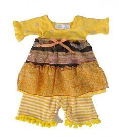 www.BabyMe.cc ~ Yellow Cloves 2pc Dress Set