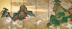Waves at Matsushima 松島図屏風 Japanese Edo period century Ogata Kôrin (Japanese, Japanese Art Styles, Japanese Artwork, Japanese Painting, Japanese Artists, Chinese Painting, Chinese Art, Kunsthistorisches Museum, Deco Paint, Art Chinois