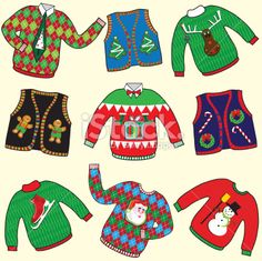 UGLY Christmas Sweaters Party Invitation Clipart Royalty Free Stock Vector Art Illustration