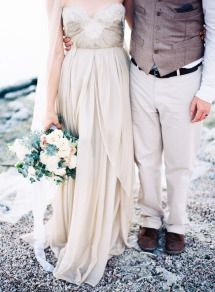 A beautiful non-white gown with just the right amount of embellishment.