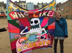 Artist Helen Davies with her banner on the Art Party March. November 2013, Art Party, Apc, Special Events, Banners, Conference, Challenges, Artist, Banner