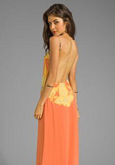 GYPSY 05 La Ba Dee Bamboo Knit Cami Scoop Back Maxi Dress in Mandarin/Grey