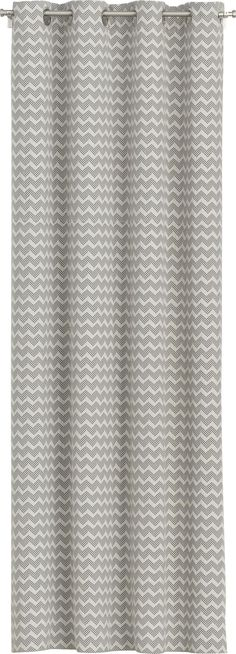 """Grey on cream chevrons frame windows in room-friendly tones and understated graphics, topped with smart matte nickel grommets.  Cotton panels are lined with polyester-cotton and have generous 4"""" hems.  Curtain accessories also available. 100% cotton69% polyester and 31% cotton liningMatte nickel 1. 5"""" dia.  grommets4"""" hemsDry clean onlyMade in India."""
