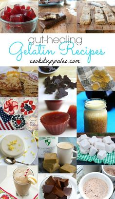 15 gut-healing gelatin recipes that are paleo-friendly and easy to make. Everything from gummies to pancakes! Healthy Eating Recipes, Paleo Recipes, Whole Food Recipes, Healthy Snacks, Cooking Recipes, Paleo Treats, Health Recipes, Sauce Recipes, Knox Gelatin Recipe