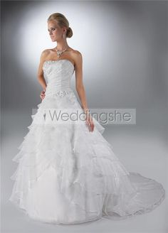 Luxurious A-line Strapless Floor-length Chapel Tiered Wedding Dresses(Free Shipping)